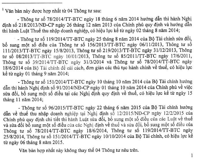 văn bản hơp nhất 26 về thuế TNDN