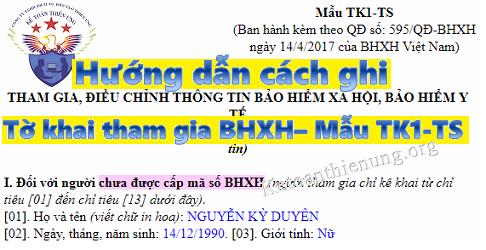 Hướng dẫn viết Mẫu TK1-TS - Tờ khai tham gia BHXH theo QĐ 595