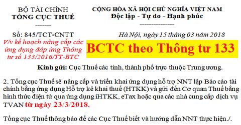 Công văn 845/TCT-CNTT nâng cấp HTKK - BCTC theo Thông tư 133