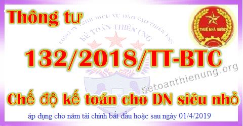 Thông tư 132/2018/TT-BTC Chế độ kế toán cho DN Siêu nhỏ