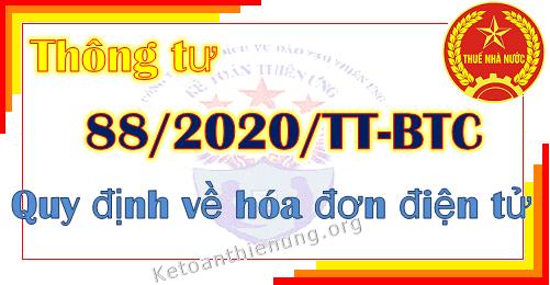 Thông tư 88/2020/TT-BTC quy định về hóa đơn điện tử