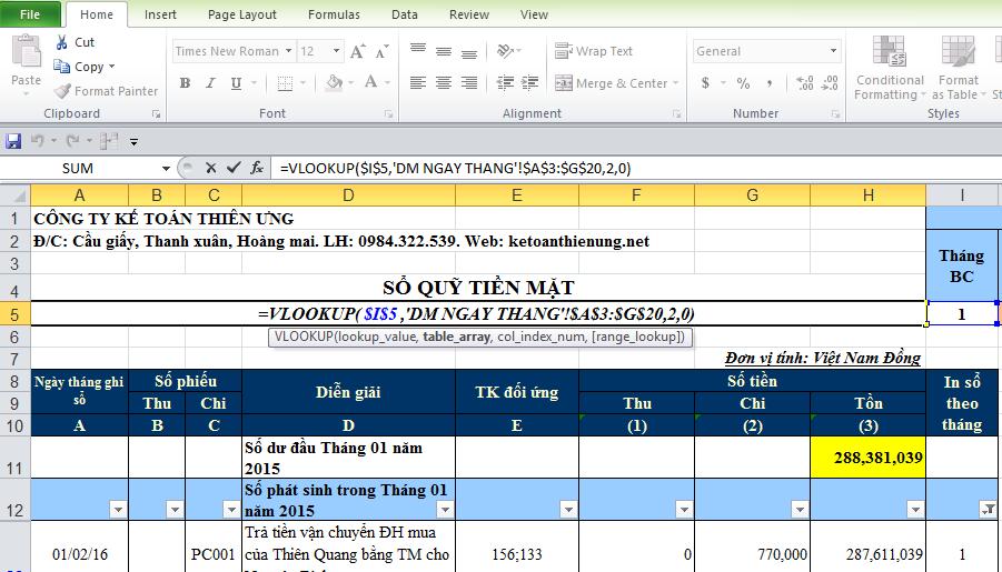 Các hàm Excel thường dùng trong kế toán để lên sổ sách