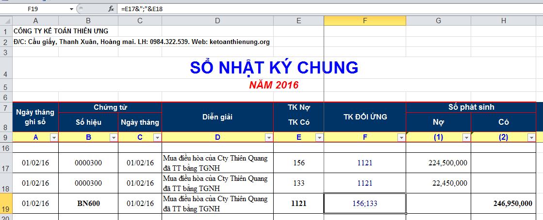 Hướng dẫn cách lập sổ sách kế toán trên Excel