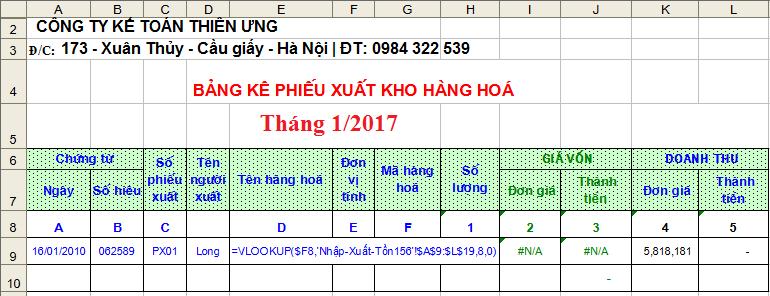 Hướng dẫn sử dụng hàm VLOOKUP trong Excel kế toán