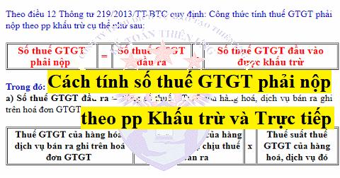 Cách tính thuế GTGT phải nộp theo pp khấu trừ và trực tiếp
