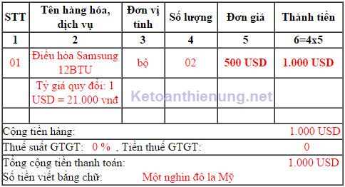 Cách viết hóa đơn thu tiền bằng ngoại tệ