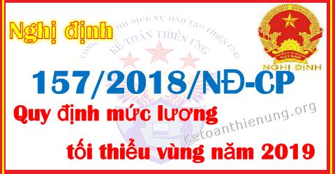 Nghị định 157/2018/NĐ-CP Mức lương tối thiều vùng năm 2019