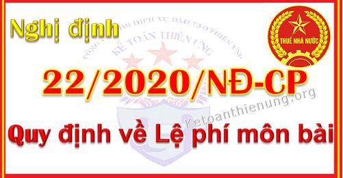Nghị định 22/2020/NĐ-CP Quy định về Lệ phí môn bài