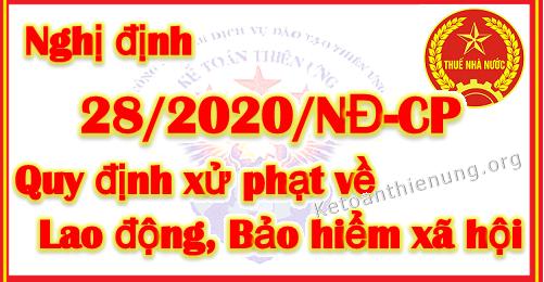 Nghị định 28/2020/NĐ-CP Quy định xử phạt về Lao động, BHXH