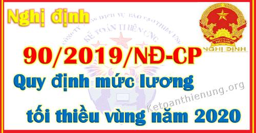 Nghị định 90/2019/NĐ-CP Mức lương tối thiều vùng năm 2020