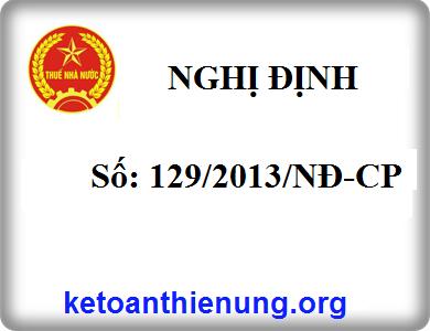 Nghị định số 129/2013/NĐ-CP của chính phủ quy định về xử phạt vi phạm hành chính về thuế