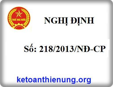 Nghị định số 218/2013/NĐ-CP quy định chi tiết và hướng dẫn thi hành luật thuế TNDN