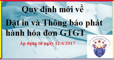 Quy định mới về đặt in và Thông báo phát hành hóa đơn (12/6/2017)