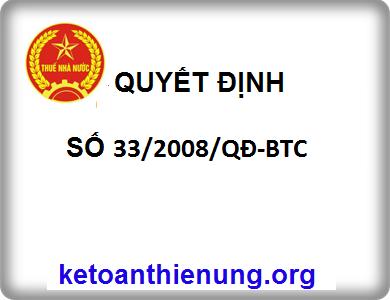 QUYẾT ĐỊNH Số 33/2008/QĐ-BTC Hệ thống mục lục ngân sách nhà nước