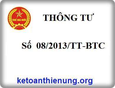 Thông tư 08/2013/TT-BTC thực hiện kế toán nhà nước