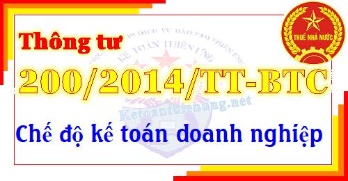 Thông tư 200/2014/TT-BTC Bộ tài chính chế độ kế toán DN