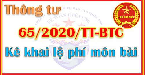 Thông tư 65/2020/TT-BTC hướng dẫn kê khai lệ phí môn bài
