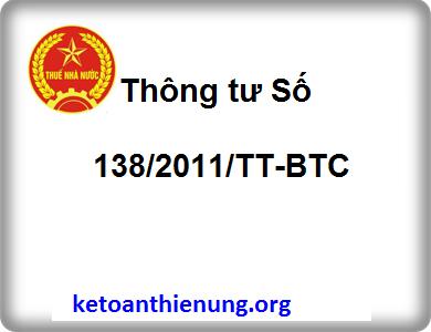 Thông tư Số 138/2011/TT-BTC sửa đổi bổ sung QĐ số 48/2006/QĐ-BTC