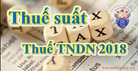 Thuế suất thuế thu nhập doanh nghiệp năm 2018