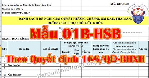 Mẫu 01B-HSB theo Quyết định 166 mới nhất