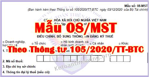 Mẫu 08-MST theo Thông tư 105/2020/TT-BTC mới nhất