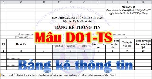 Bảng kê thông tin Mẫu D01-TS theo quyết định 595/BHXH