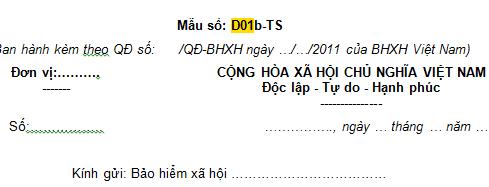 Mẫu văn bản giải trình của đơn vị Mẫu số D01b-TS