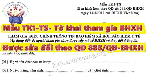 Mẫu TK1-TS Tờ khai tham gia BHXH, BHYT, BHTN mới nhất