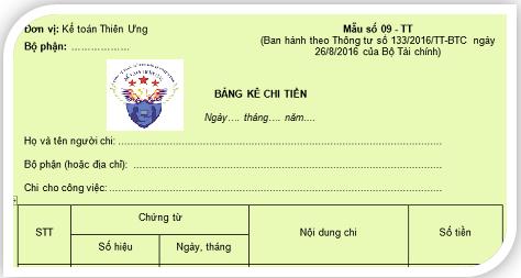 Mẫu bảng kê chi tiền theo Thông tư 200 và 133