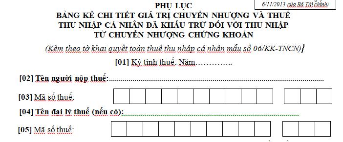 Bảng kê giá trị chuyển nhượng và thuế TNCN mẫu 06-1/BK-TNCN