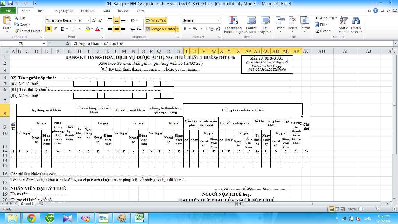Mẫu bảng kê hàng hóa dịch vụ thuế suất thuế GTGT 0% Mẫu số 01-3/GTGT