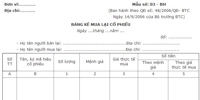 Mẫu bảng kê mua lại cổ phiếu theo QĐ 48 và TT 200