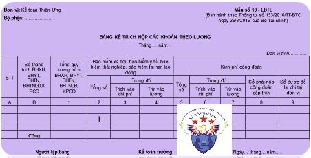 Mẫu bảng kê trích nộp các khoản theo lương theo TT 200 và 133