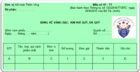 Mẫu bảng kê vàng bạc đá quý theo Thông tư 200 và 133