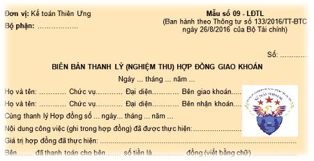 Mẫu biên bản thanh lý hợp đồng giao khoán theo Thông tư 200, 133