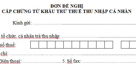 Đơn đề nghị cấp chứng từ khấu trừ thuế TNCN mẫu 17/TNCN