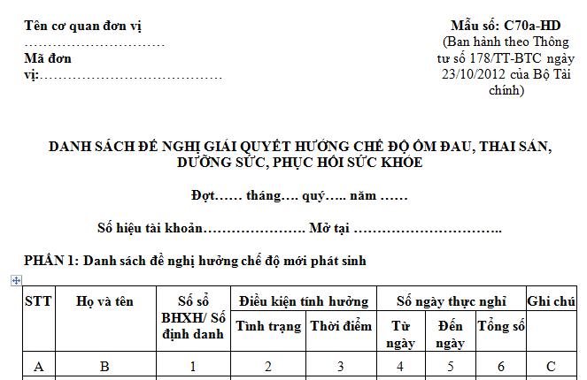 Mẫu C70a-HD theo QĐ 636/QĐ-BHXH 2016 Danh sách chế độ thai sản