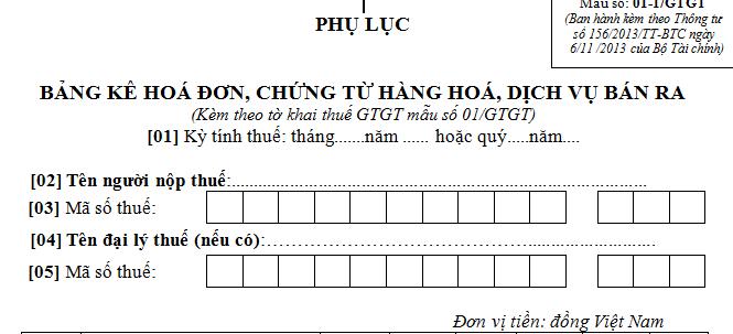 Mẫu bảng kê hóa đơn, chứng từ hàng hóa, dịch vụ bán ra Mẫu số: 01-1/GTGT