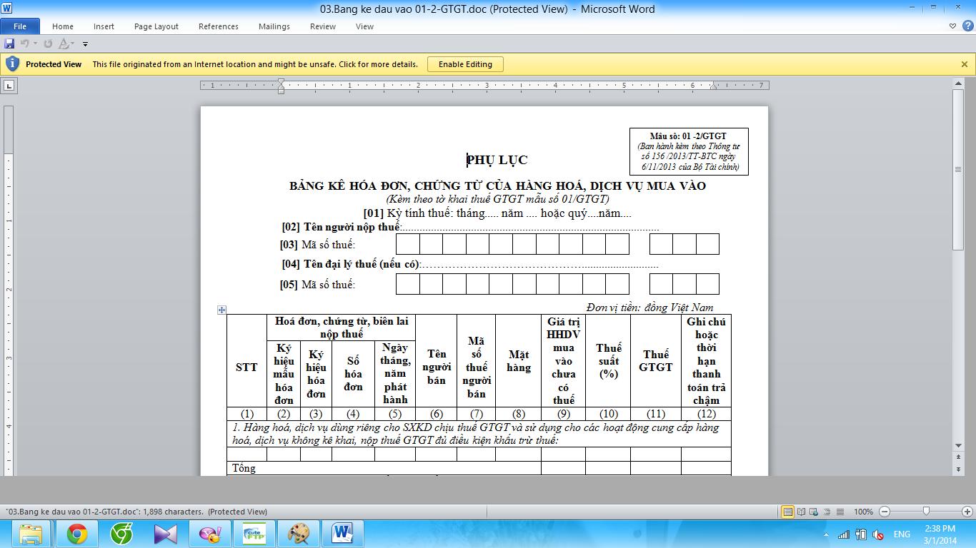 Mẫu Bảng kê hóa đơn, chứng từ hàng hoá, dịch vụ mua vào Mẫu số: 01 -2/GTGT