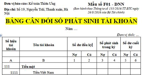 Mẫu bảng cân đối tài khoản kế toán theo Thông tư 133