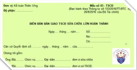 Mẫu Biên bản bàn giao TSCĐ sửa chữa theo Thông tư 200, 133
