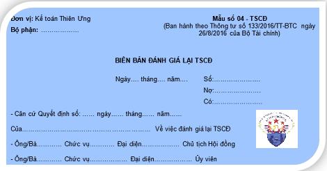 Mẫu biên bản đánh giá lại TSCĐ theo Thông tư 200 và 133