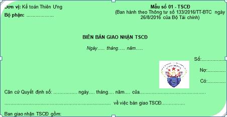 Mẫu biên bản giao nhận TSCĐ theo Thông tư 200 và 133