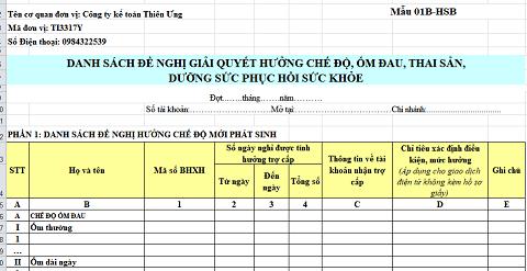 Mẫu C70a-HD theo QĐ 636/QĐ-BHXH 2019 Danh sách chế độ thai sản