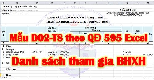 Mẫu D02-TS Danh sách tham gia BHXH theo QĐ 595 file Excel