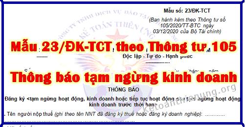 Mẫu 23/ĐK-TCT thông báo tạm ngừng kinh doanh mới nhất