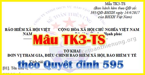 Mẫu Tờ khai đơn vị tham gia BHXH Mẫu TK3-TS theo QĐ 595