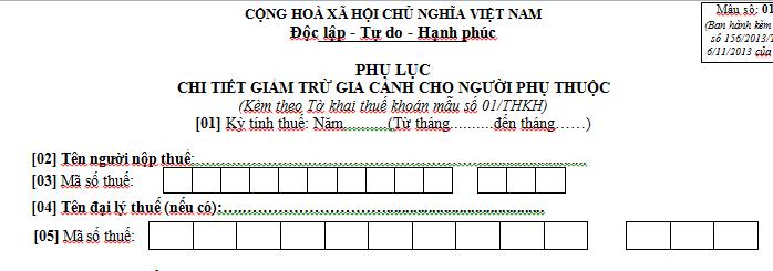 Phụ lục chi tiết giảm trừ gia cảnh cho người phụ thuộc mẫu số 01-1/THKH