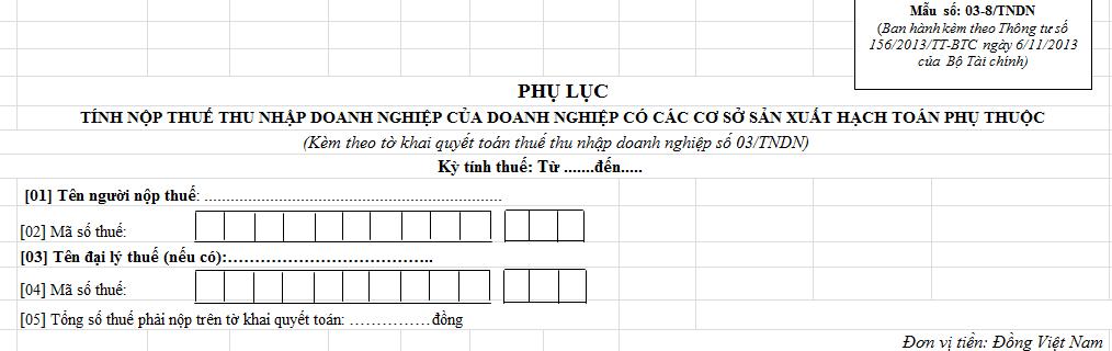Phụ lục tính thuế TNDN có sơ sở hạch toán phụ thuộc Mẫu số 03-8/TNDN
