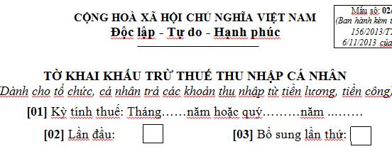 Mẫu 05/KK-TNCN Tờ khai khấu trừ thuế thu nhập cá nhân